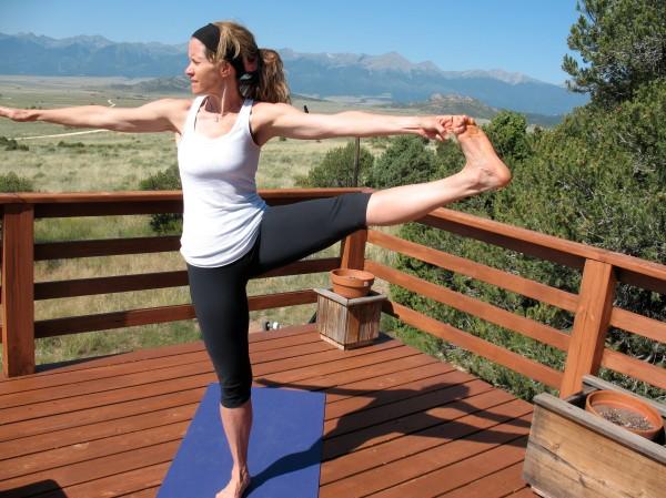 Deck yoga in Colorado.