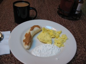 Scrambled Eggs, Cottage Cheese, and Banana with Almond Butter Plus More Coffee
