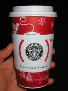 Skinny, non-fat cinnamon dulce latte.  Mmmm.