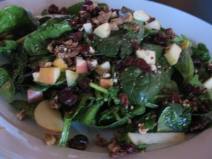 Spinach with maple pecans, cranberries, red onion, green apples, and grilled tempeh bacon (YUM) with miso-citrus dressing