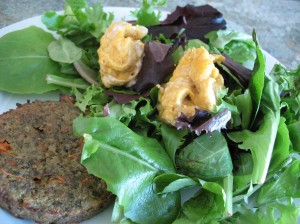 Sunshine Burger with Greens Topped with Pumpkin Hummus (Heather Style)