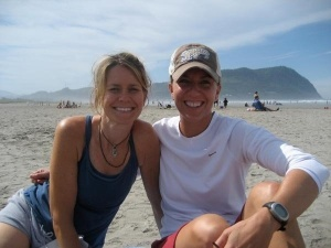 Celebrating our Hood to Coast finish on the beach in Seaside, Oregon.  That's me on the left after 15 miles of running and no sleep for 24 hours!