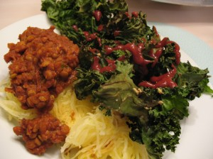 Pumpkin Snobby Joe's & Kale Chips...smothered in ketchup.
