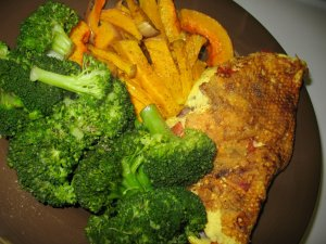 Egg white omelette with veggies & Laughing Cow cheese, steamed broccoli, and butternut squash fries