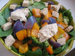 Sunshine Salad - Spinach, steamed red onion, broccoli, & orange bell pepper, tempeh, and hummus