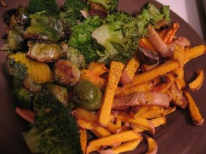 Roasted veggies with butternut squash fries