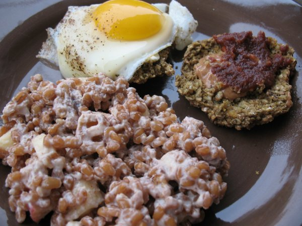 Wheat Berry Waldorf Salad and a Biscuit