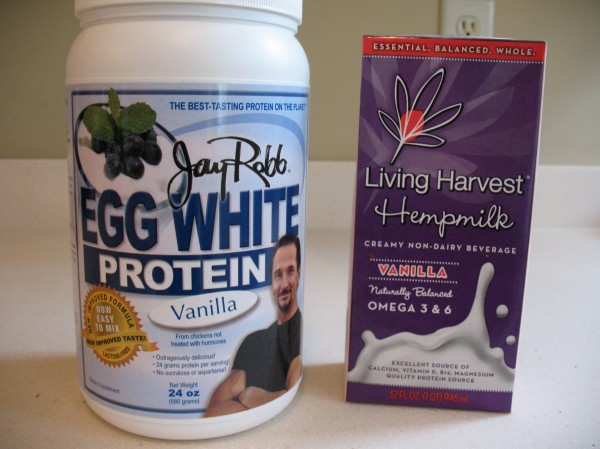 1/2 scoop Jay Robb egg white protein powder & 1/2 cup vanilla hemp milk