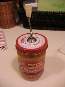 Nut Butter Stirrer.  Finally, no oil splashes on our countertops!