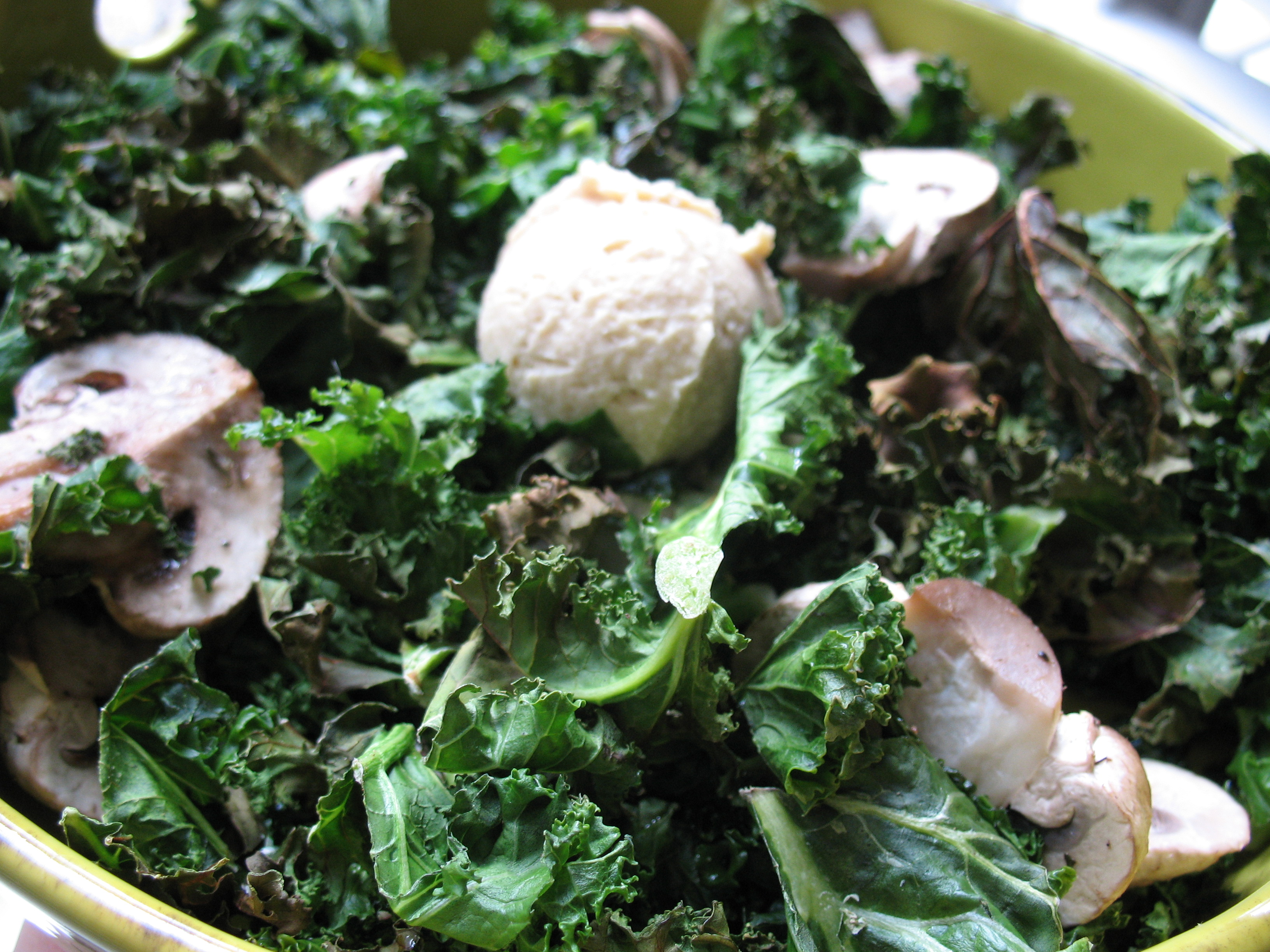 1st course - roasted kale & mushrooms with hummus.