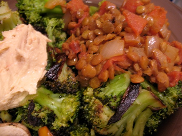 Curried lentils with veggies and hummus