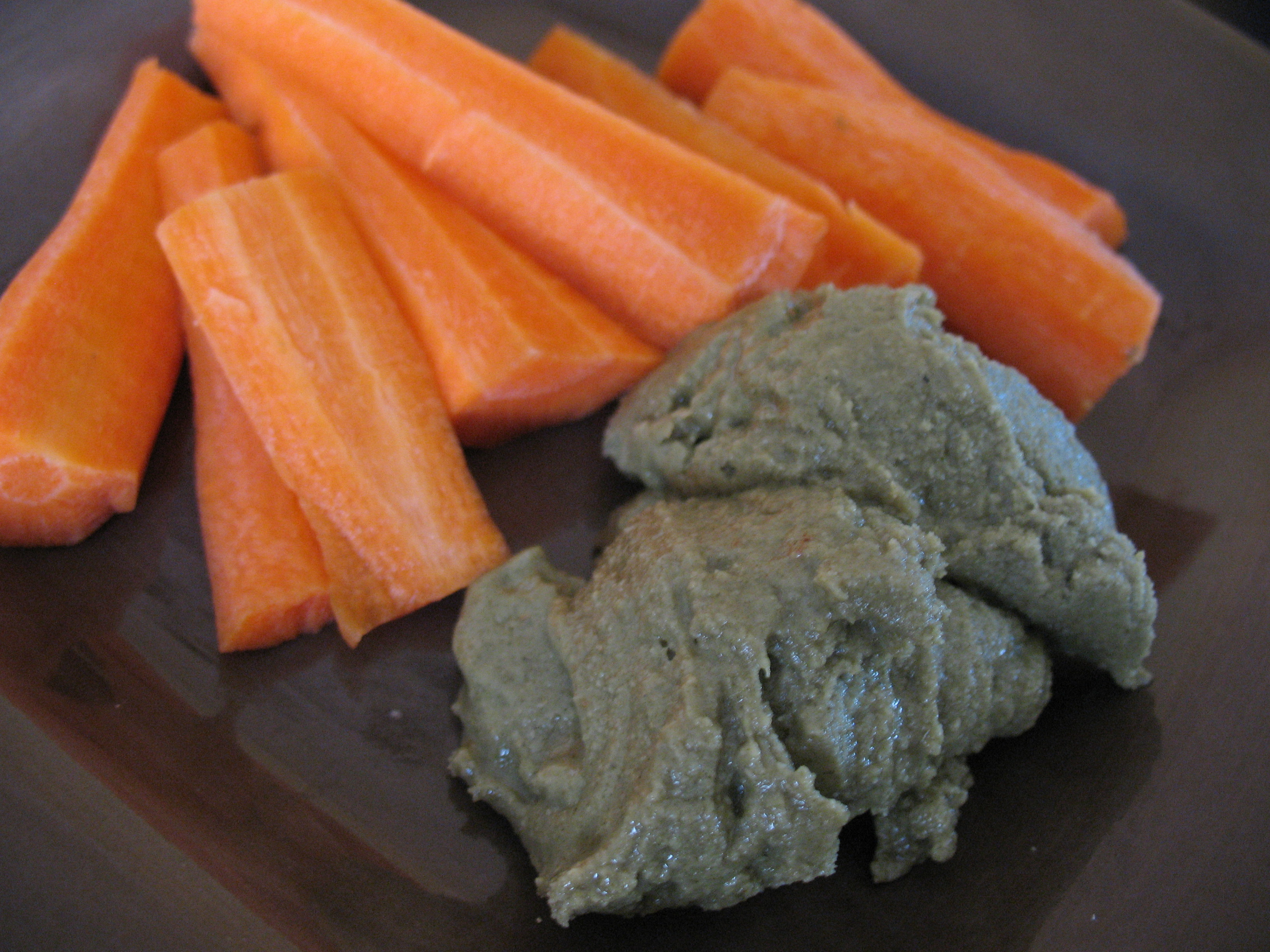 Carrot sticks and raw pumpkin seed butter.  Amazing combo!