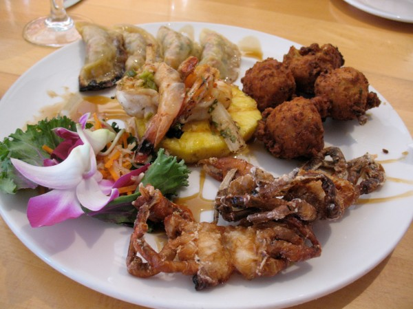 Pot stickers, shrimp, and crab.
