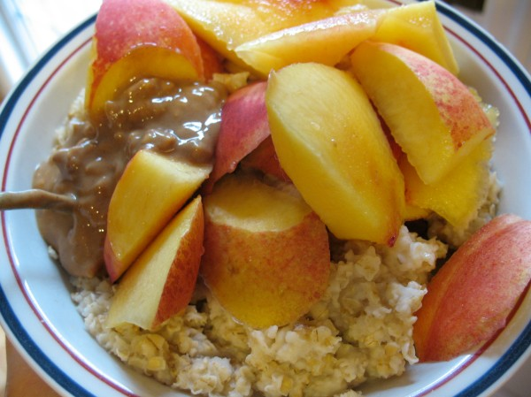 Their pantry was stocked with ypical HEAB foods.  Rolled oats, nectarine, and PB.