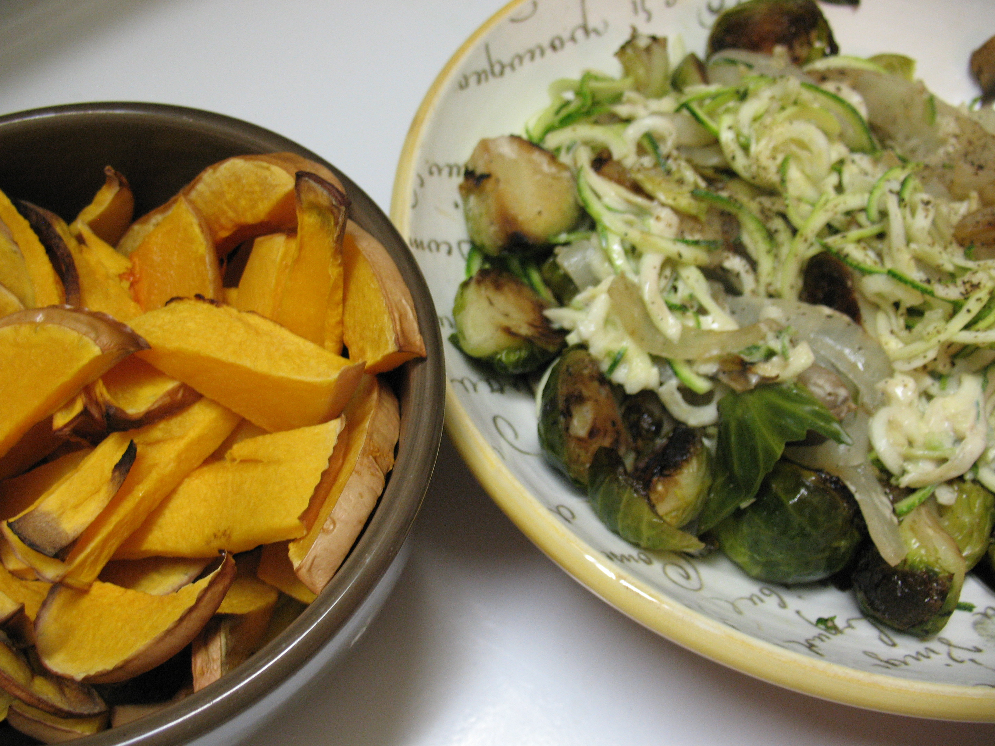 Stir-fry veggies with tahini dressing and roasted butternut squash.