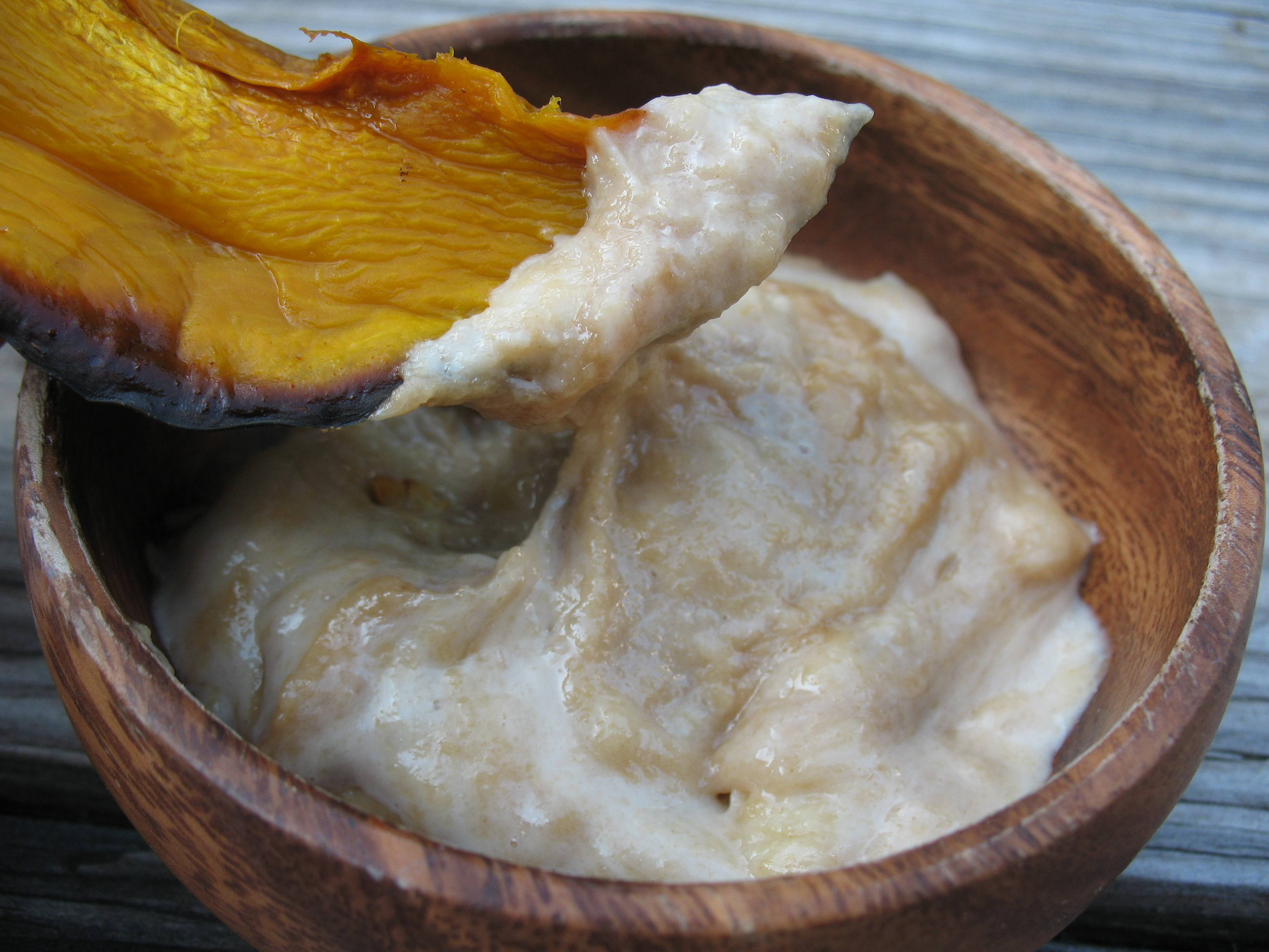 Roasted kabocha dipped in Tahini Banana Butter.