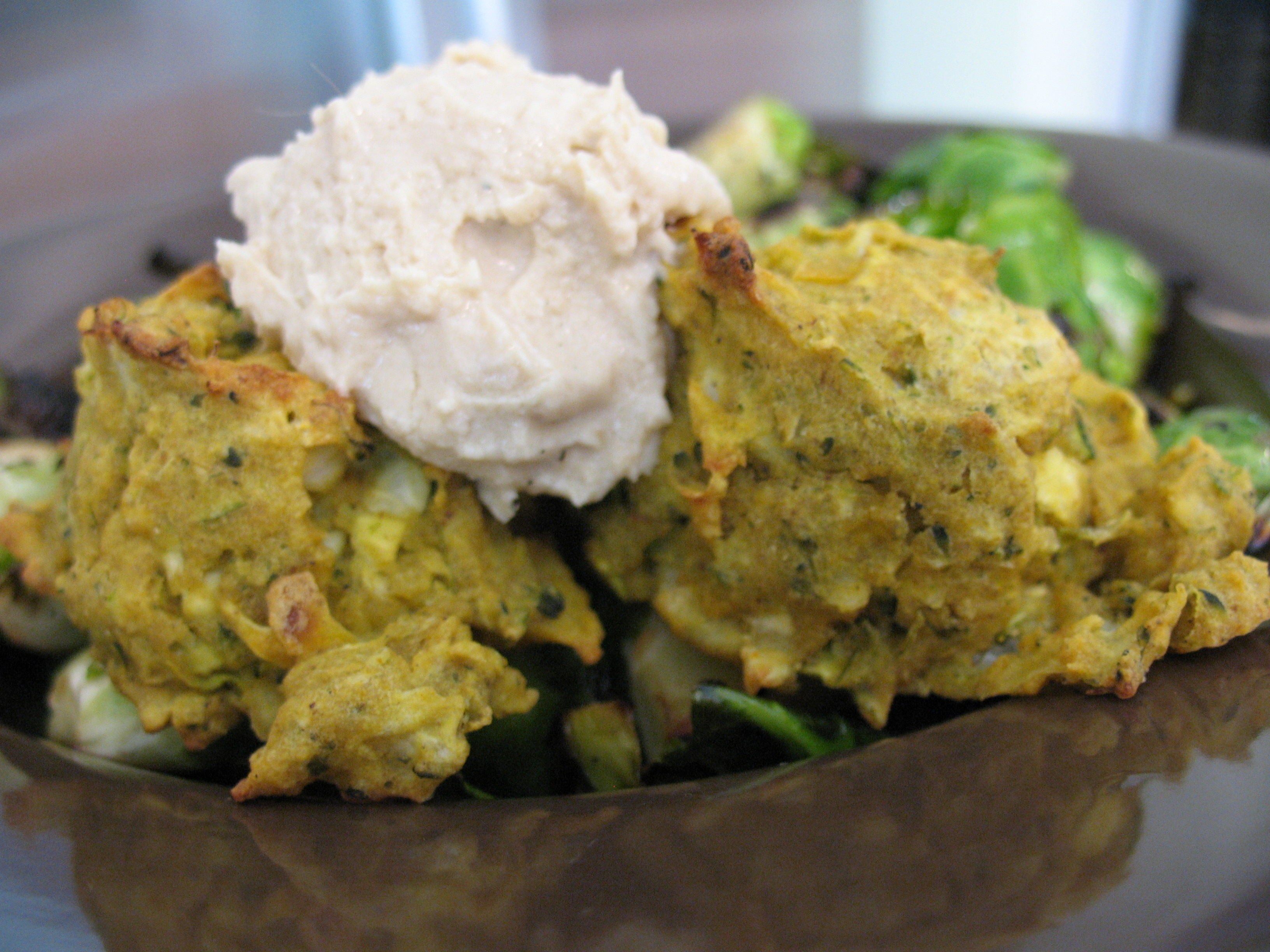 Tahini Falafels with hummus.