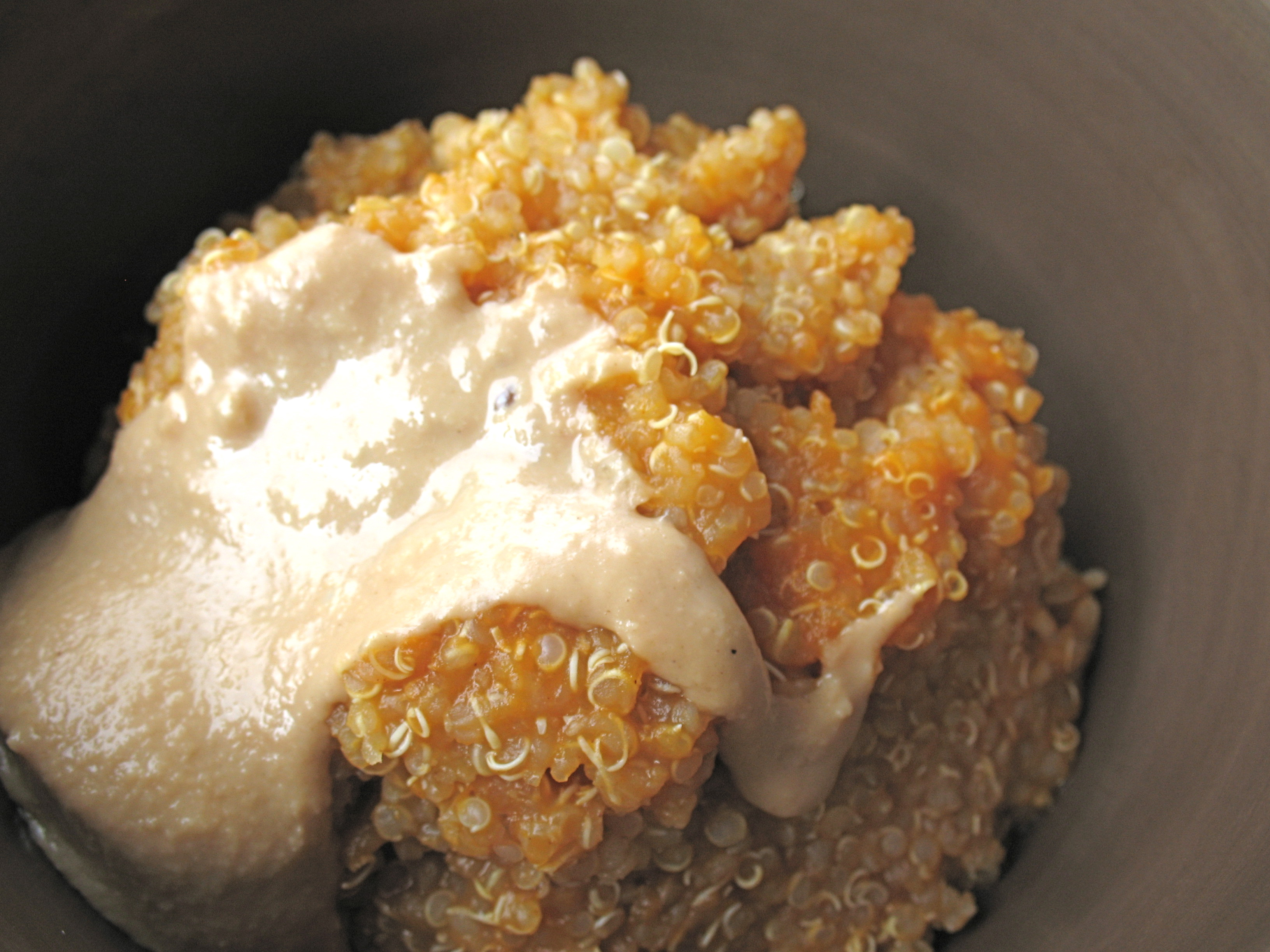 Pumpkin quinoa with raw honey and tahini.