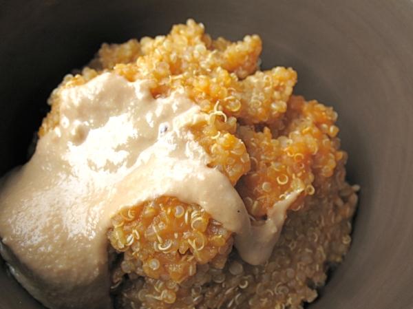 Pumpkin quinoa with raw honey and tahini.