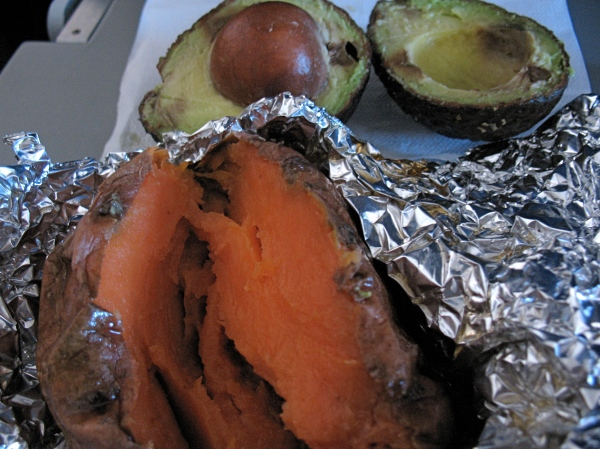 Baked sweet potato and a sickly looking avocado. Ate it all.
